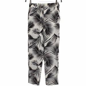 Mikoh Silk Thailand Floral Palm Print Cropped Pants White Black Size 2 Medium